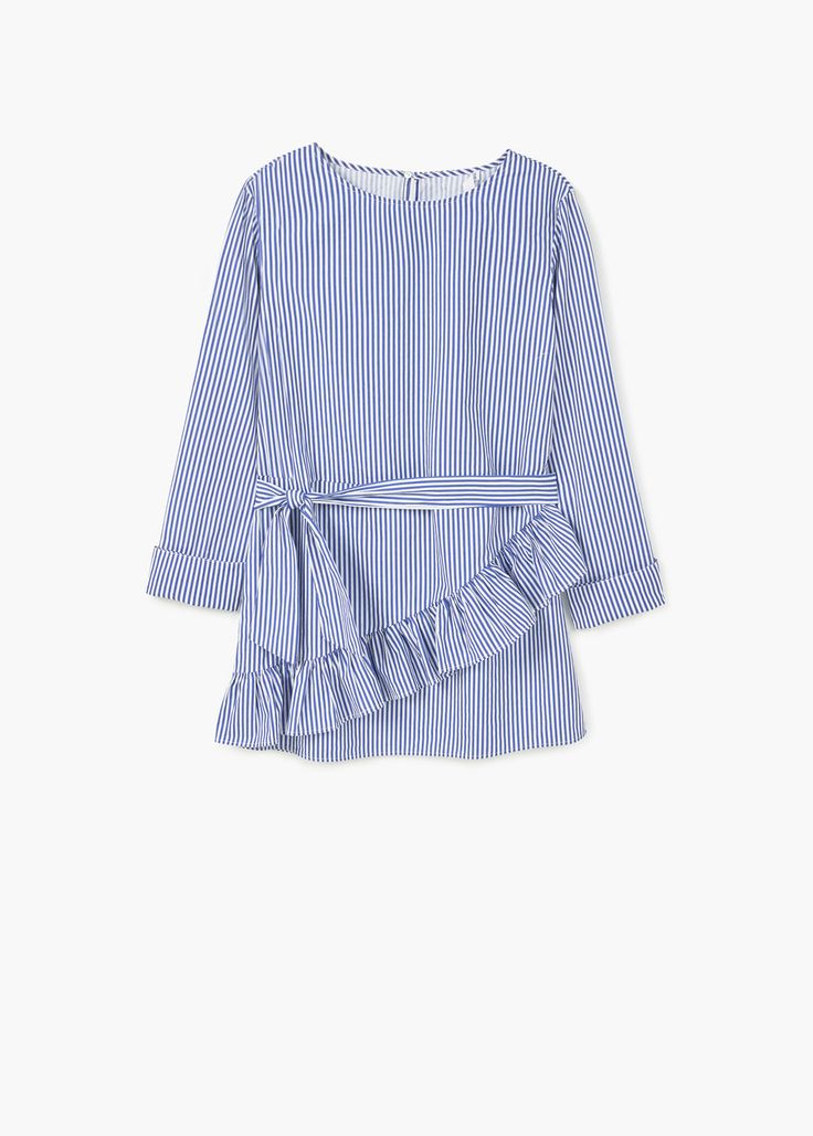 Striped poplin blouse - Shirts for Woman | MANGO The Philippines