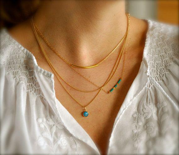 Set of 3 Layering Necklaces, 14K Gold Filled, Tube Bar, Turquoise, Evil Eye on Etsy, $72.00
