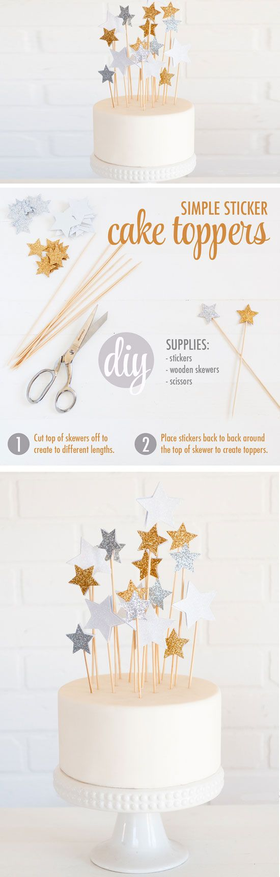 Star Cake Toppers | Click Pic for 21 DIY Graduation Party Ideas for High School | DIY College Graduation Decorations Ideas