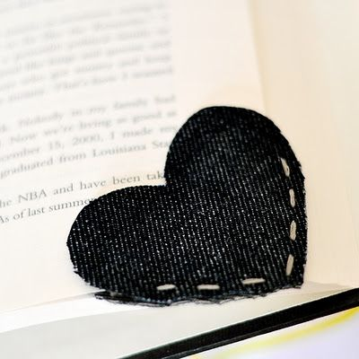 Book mark made out of cutting two hearts out of a pair of old jeans, then stitching them together at the tip to fit the page! Save a page, ear a dog!