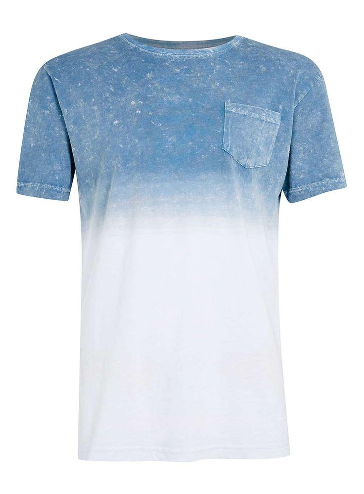 Antioch Blue Dip Dye T-Shirt   TOPMAN