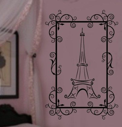 Framed Paris Eiffel Tower VInyl Wall Lettering Decal by wallstory, $26.99