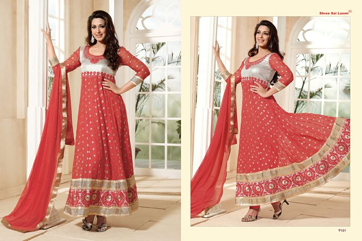 Stunningly Beautiful Peach and Silver colored Georgette Anarkali with awesome Embroidery work en-crafted. Comes along with Matching Shantoon Bottom and Chiffon Duppatta finely Embroidered.