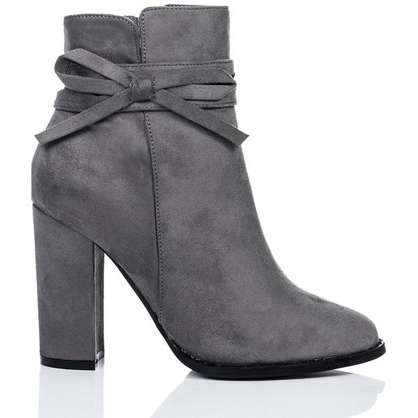 SpyLoveBuy Cherish Block Heel Bow Ankle Boots Shoes   Grey Suede Style ($42) ❤ liked on Polyvore featuring shoes, boots, ankle booties, grey, grey booties, short boots, high heel ankle boots, ankle boots and gray suede booties