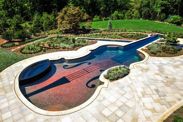 Swimming Pool. Appealing Contemporary House with Unique Pool Concepts: Mesmerizing Unique Concepts Violin Swimming Pool Ideas With Combination Of Garden With A Pool Outside Design ~ wegli