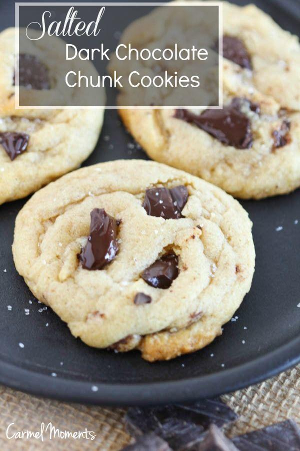 Salted Dark Chocolate Chunk Cookies | Recipe | Chocolate chunk cookies ...