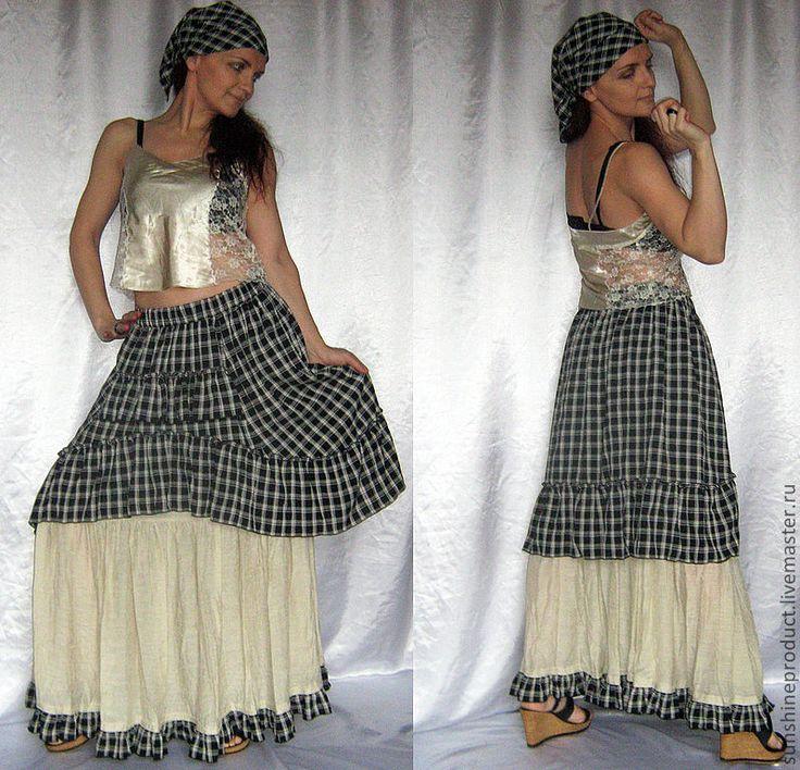 """Купить Юбка """"Летний шабаш"""" - чёрно-белый, в клеточку, бохо, стиль бохо, богемная юбка"""