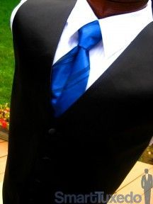 Tuxedo Vest Black with Coordinating Stripe Royal Blue Windsor Band Tie; for the groom