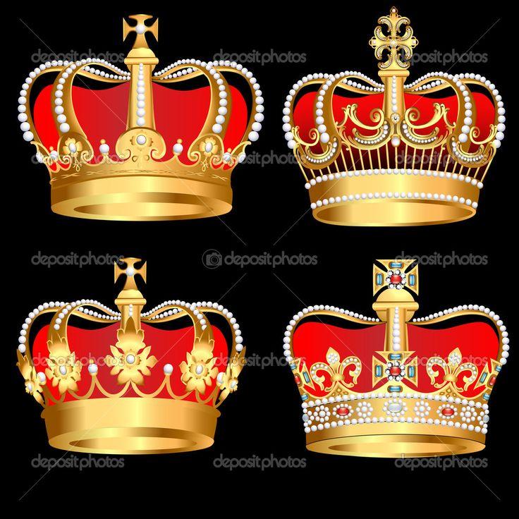 Yükle - Siyah zemin üzerine altın kron ayarla — Stok İllüstrasyon #9829509
