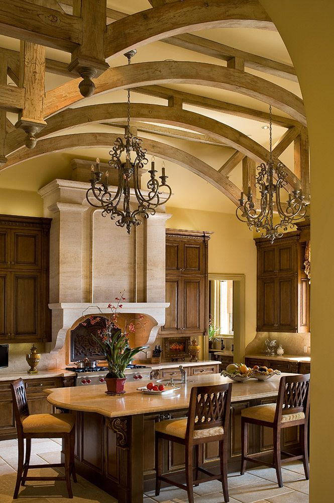 Gorgeous kitchen with trussed ceiling...