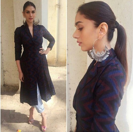 Aditi Rao Hyderi wearing Anita Dongre Grass Root Denims paired with long overcoat dress for her movie Wazir promotions