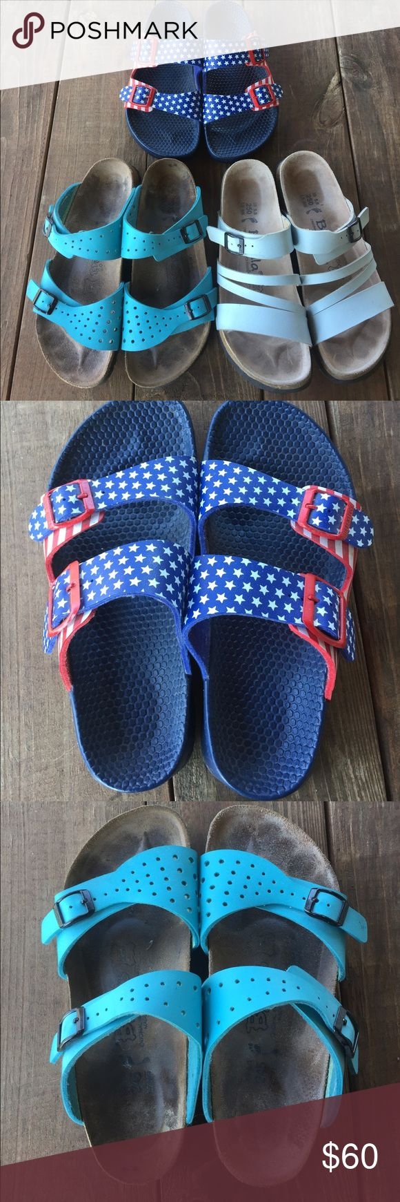 3x Birkenstock Sandals Egg shell blue are Betula by Birkenstock and size 8 (39)...but fit like a 7 and American Flag are 7 (38) and turquoise blue are size 7 (38). Please note that they have all been gently worn. Egg shell blue ones have some small faint stains which I tried to picture. Birkenstock Shoes Sandals