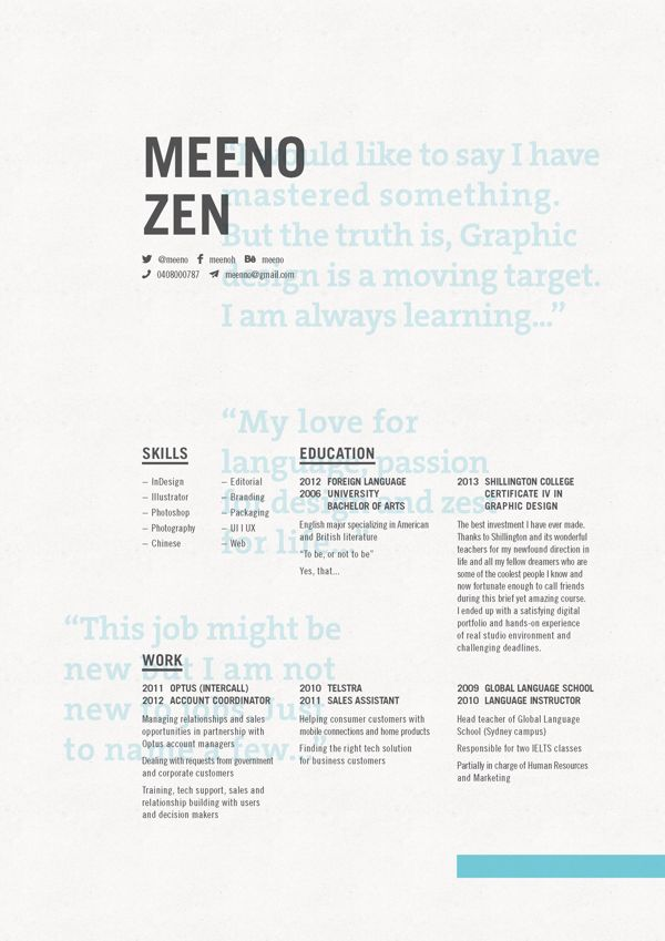 21 best Creative Design CVs images on Pinterest Creative design - freelance designer resume