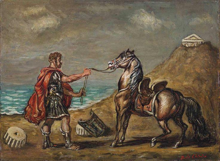 Giorgio de Chirico Cavaliere romano che tiene un cavallo alla briglia, 1960 | Flickr - Photo Sharing!