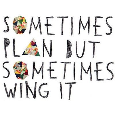 "this is my life in a nutshell...I call myself the ""spontaneous planner"" I make spontaneous decisions, then plan them out! It works great!"