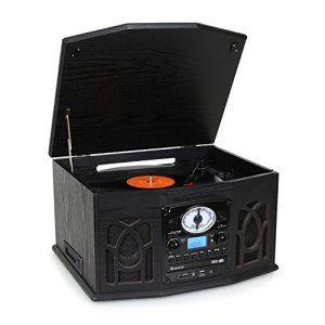 auna NR-620 Chaîne hifi avec platine vinyle, lecteur cassette, CD et USB pour lecture MP3 (fonction numérisation, sortie casque,…