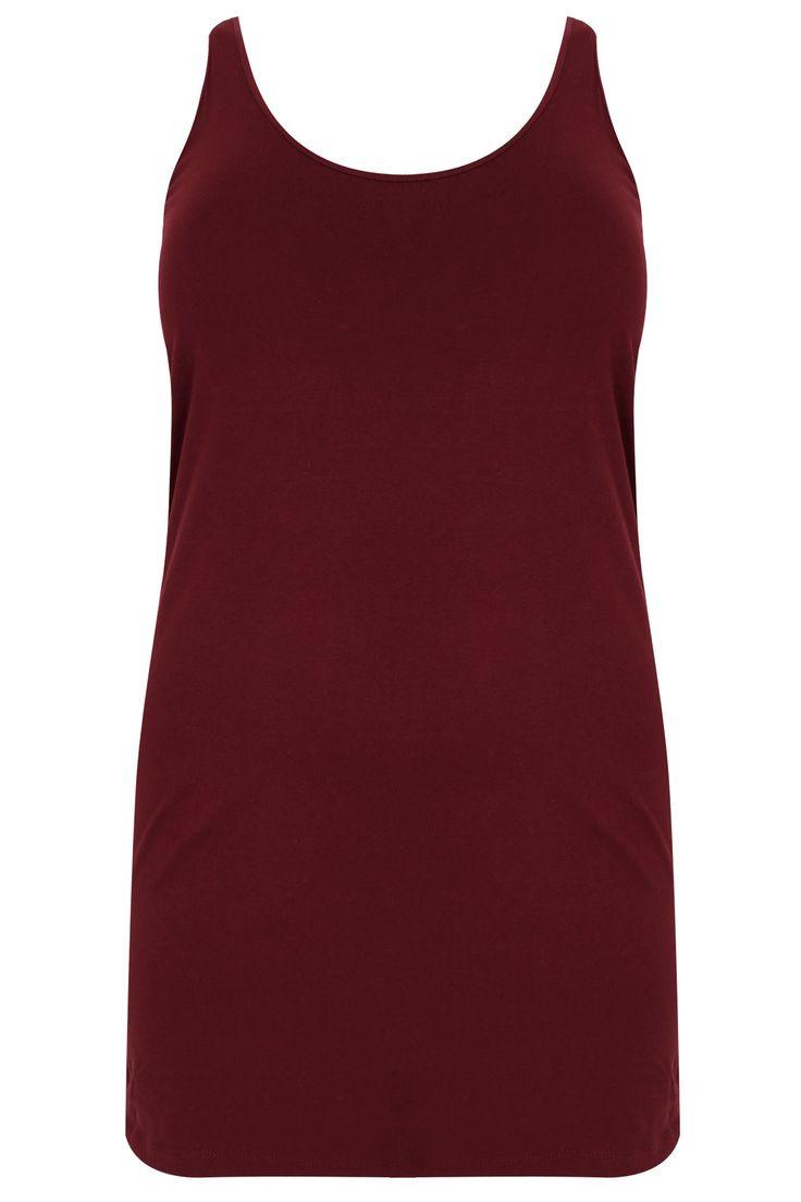 Burgundy Longline Vest Top Plus size 16,18,20,22,24,26,28,30,32,34,36
