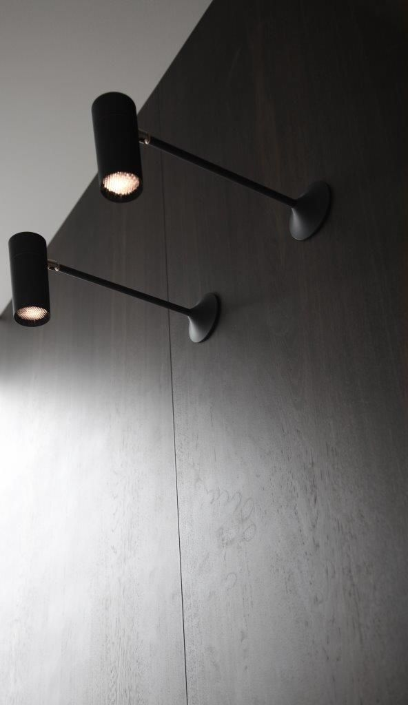 Elegant Penthouse CPH Storm Light Wall Black with leather and Brass details STORM SYSTEM made in