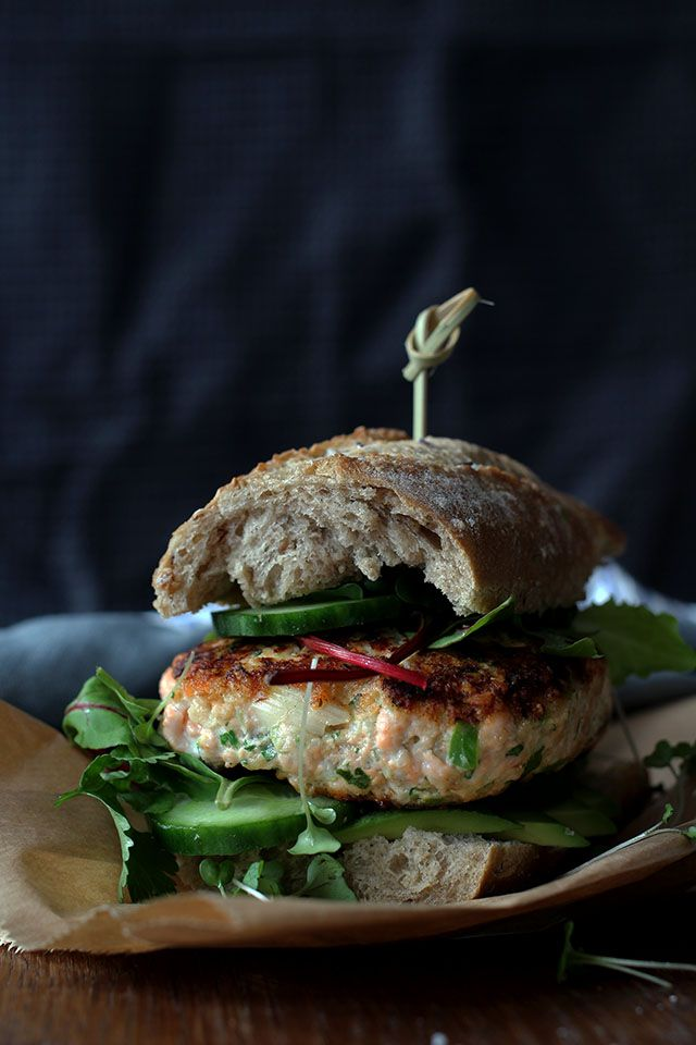Salmon burger with avocado and wasabi | @andwhatelse