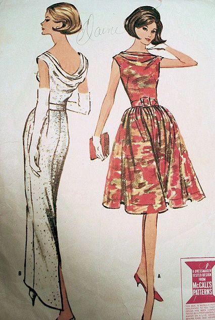 1960s mccalls 7052 dress pattern elegant evening gown for Cowl neck wedding dress pattern