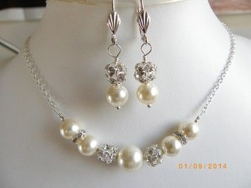 Handmade Pearl Bridal Jewelry Set Necklace And Earrings Bridal Set Swarovski Pearl Rhinestone Ball Beads Necklace Cream Pearl $58