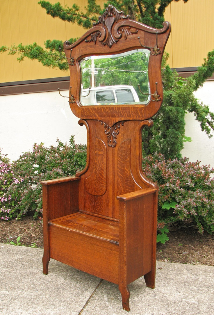 SUPERB Quarter Sawn Oak Large Mirrored Hall Tree w285. Antique DecorAntique  FurnitureVintage ... - 80 Best Antique Quarter Sawn Oak Furniture Images On Pinterest