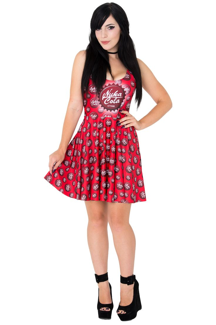 Kittyhawk Clothing Nuka Cola Skater Dress $75 AUD #nukacoladress #nukacola #fallout #fallout4 #bottlecaps #khnukacoladress #katyuskamoonfox #geekyfashion #kittyhawkclothing