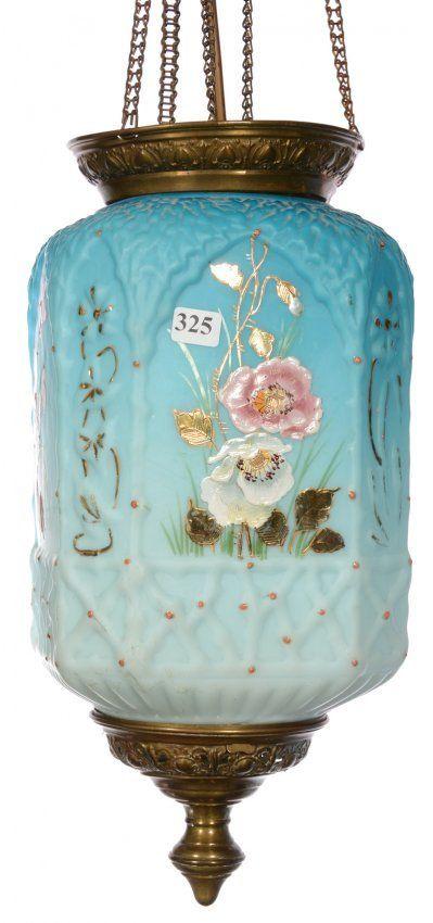 "Lot:15"" BLUE SATIN ART GLASS SQUARE HANGING HALL LAMP, Lot Number:325, Starting…"