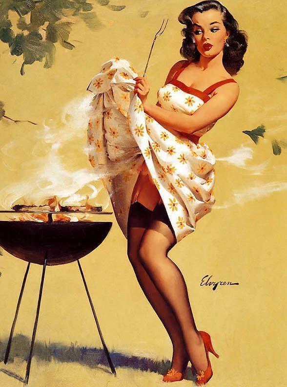 Gil Elvgren - Smoke Screen - 1958 - Vintage Pinup Girl