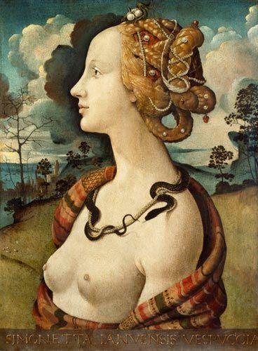 Simonetta Vespuci (1500), de Piero di Cosimo. Ilustra el típico peinado renacentista de las mujeres ricas, que se afeitaban el nacimiento del pelo y se lo adornaban con gemas y perlas.