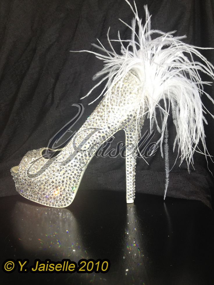 Swarovski Crystal and Ostrich Feather Wedding Shoes. $650.00, via Etsy.    wish these could be my wedding shoes