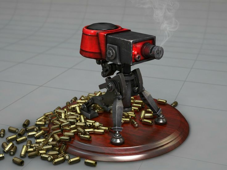 My  3D printed Team fortress 2 (TF2) sentry turret.  You can get your own copy here:   https://www.shapeways.com/shops/jwong3D