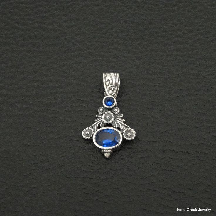 UNIQUE SAPPHIRE CZ BYZANTINE STYLE 925 STERLING SILVER GREEK HANDMADE PENDANT #IreneGreekJewelry