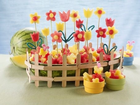 Watermelon flower sticks - perfect healthy party food kids can help make!