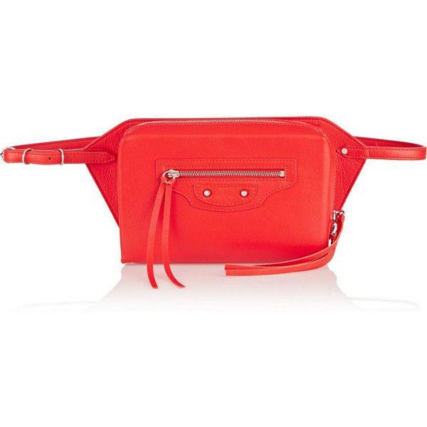 Balenciaga Papier leather belt bag featuring polyvore, fashion, bags, handbags, red, fanny bag, red leather purse, leather belt, red leather belt and belt bag