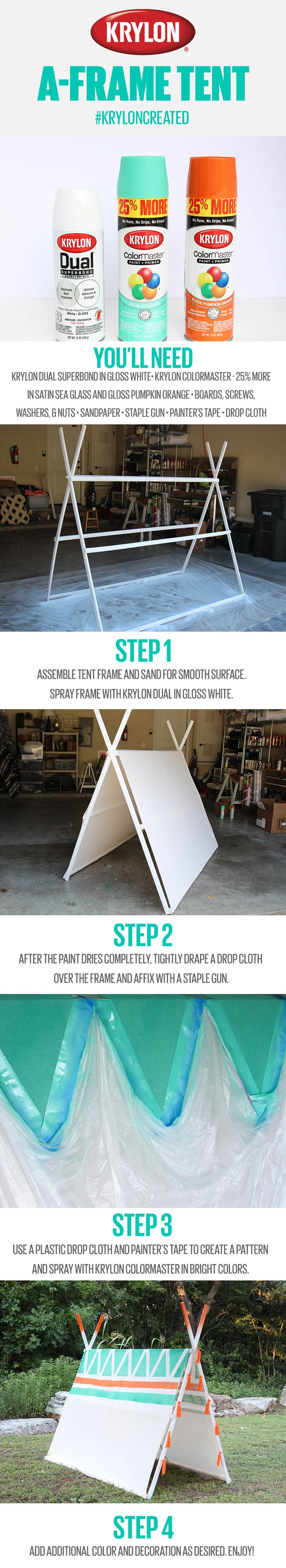 This summer is the perfect time for bright Krylon colors, bold patterns, and outdoor fun! Refresh your outdoor space with a colorful A-frame tent made with Krylon Dual Superbond in Gloss White and Krylon ColorMaster - 25% More in Satin Sea Glass and Gloss Pumpkin Orange. Click the pin for the full guide and create your own!