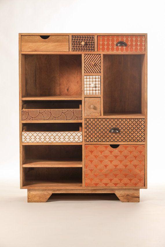 Commode design multi-tiroirs bois imprimé coloré