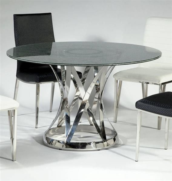 Janet Glass Stainless Steel Dining Table W/48 Inch Sandwich Glass Top Part 88