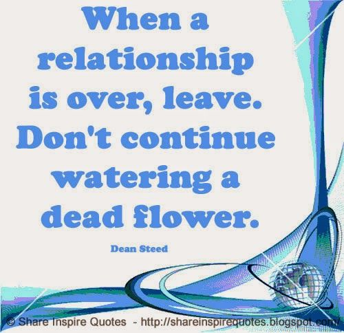 When a relationship is over, leave. Don't continue watering a dead flower. ~Dean Steed  #FamousPeople #famouspeoplequotes #famousquotes #famousquotesandsayings #famouspeoplequotesandsayings #quotesbyfamouspeople #quotesbyDeanSteed #DeanSteed #DeanSteedquotes #relationship #over #leave #continue #watering #dead #flower #shareinspirequotes #share #inspire #quotes