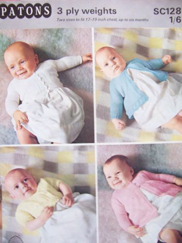 Knitting-Pattern-Booklet-Patons-SC128-3-Ply-Baby-Cardi-Coats-Wrapover-17-19