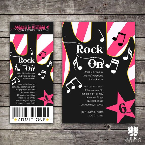 Rockstar Party Invitation TIcket on Etsy, $15.00