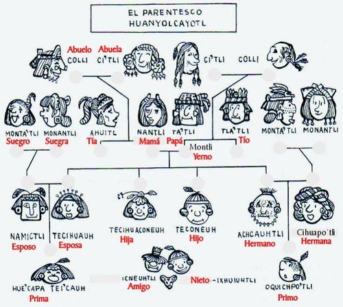 Árbol genealógico en Nahuatl