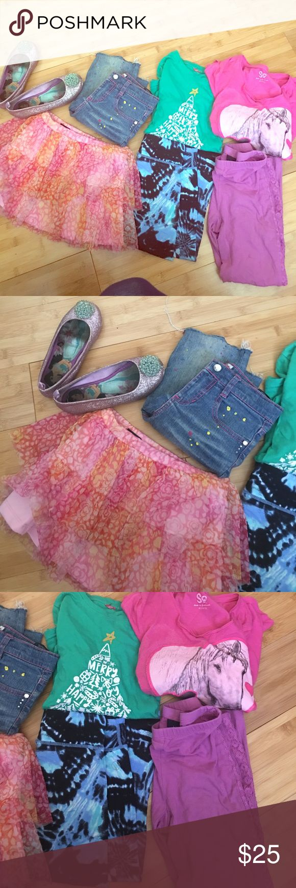More than 20 pcs girls clothing More than 20 pcs of girls clothing including shoes. Size 7 to 10. Tops, shorts, pants, and dresses. All used but in good condition. I also have size 14 to 16 girls and boys clothing. Justice Shirts & Tops Tees - Short Sleeve
