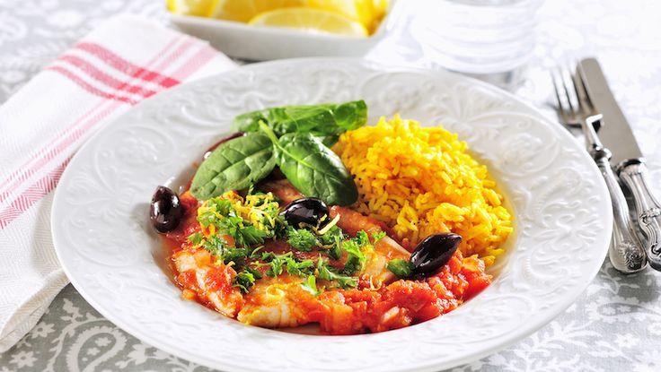 Italiensk fisk med saffransris