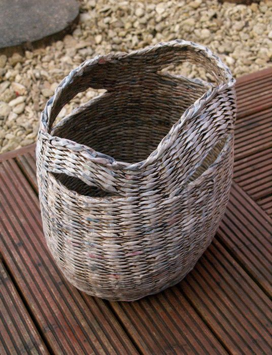 Decorative grey shabby chic upcycled/recycled basket handmade from paper/newspapers
