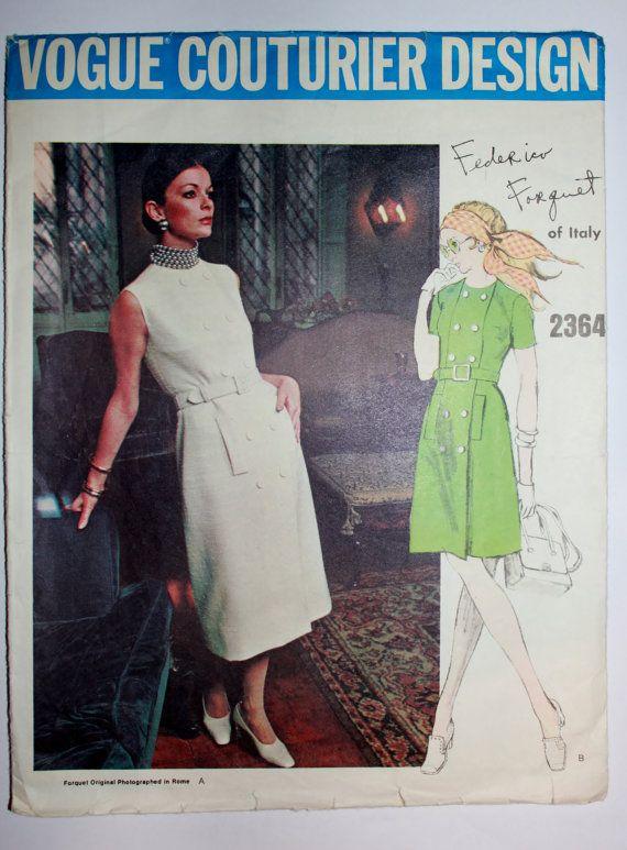 1960s Federico Forquet cappotto abito modello da Vogue Couturier Design. Taglia 16