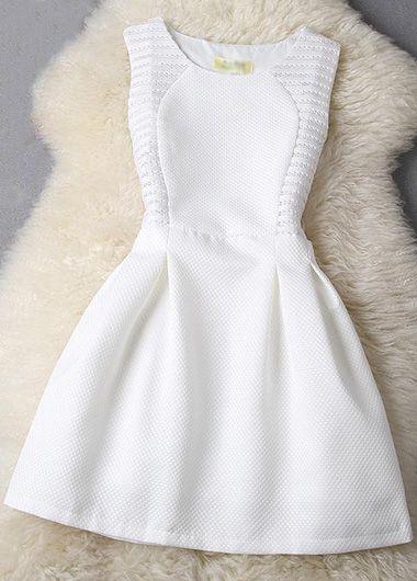 Ahueca hacia fuera sin mangas de cuello redondo Un Vestido Line - Blanco