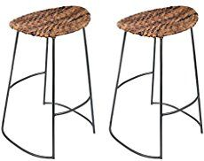 BirdRock Home Industrial Seagrass Bar Stool | Metal Frame | 27 inches | Set of 2 | Bar Height | Kitchen Stool | Backless