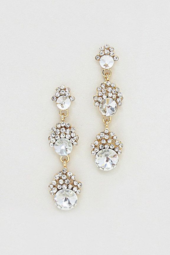 Crystal Madeline Earrings in Gold//