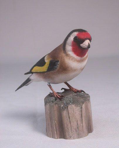European Goldfinch Hand Carved Wooden Bird by jjstudio